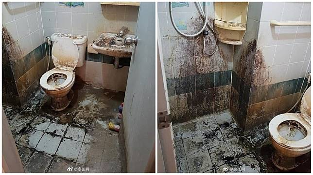 泰國一名女子租屋9年,但幾乎從不打掃,尤其是浴廁的景象,讓人看了險嚇暈。(圖/翻攝自泰國網微博)