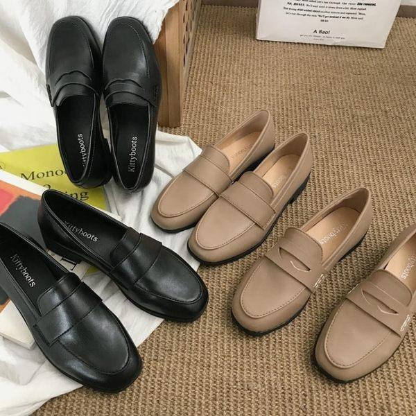 現貨-ins網紅黑色小皮鞋女英倫風2019春季新款百搭平底單鞋樂福豆豆鞋【6-21】