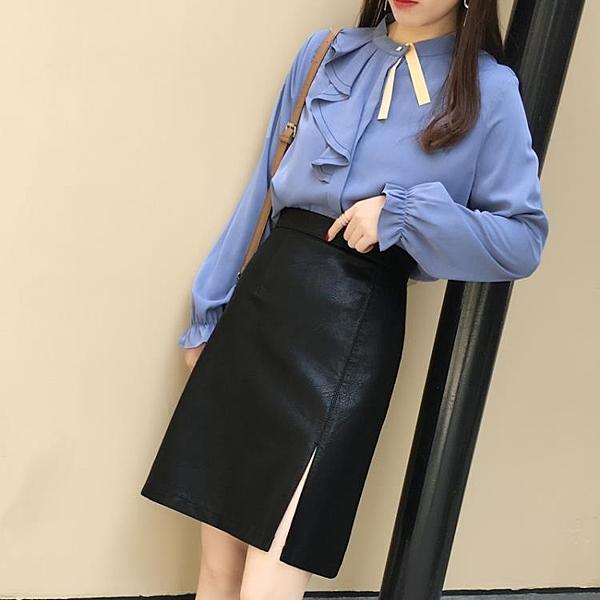 PU皮裙半身裙女中長款秋冬黑色a字裙高腰遮胯裙子顯瘦小皮裙
