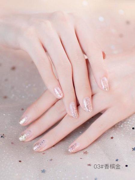 限定款指甲油 指甲油少女可剝無毒撕拉持久不掉色防潑水星辰流沙仙女冰沙女櫻花不