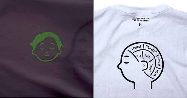 白色款式Eason頭像設於右胸位置,並以夜光物料打造,背部則寫上「COURAGE」、「PASSION」及「RELAX」等等不同詞彙 。(互聯網)