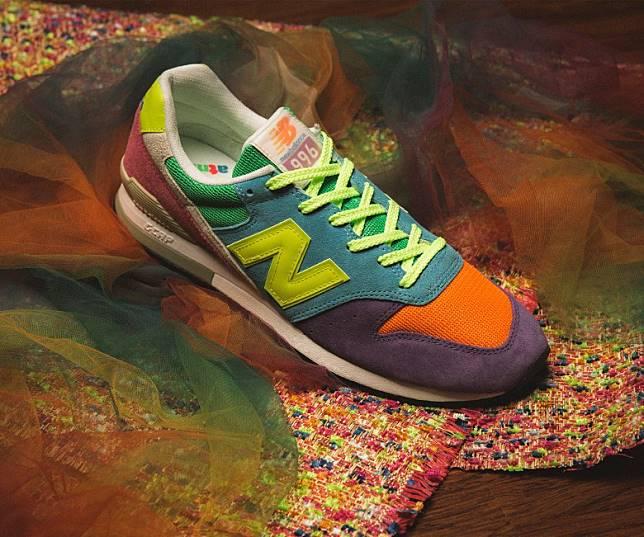atmos x New Balance CM996ATN,運用色彩繽紛的麖皮與尼龍網布打造出鴛鴦色的獨特設計,左右腳分別以多達7種顏色拼湊而成。即日起至8月15日23時59分於網上登記抽籤,8月16日公布結果。(互聯網)