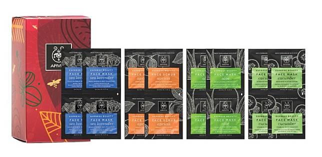 APIVITA Aqua Vita Face Care Gift Set王牌水潤面膜套裝:由去角質到補濕再到抗氧化,一盒滿足你多個願望。紅色的包裝充滿聖誕節喜慶的氣氛,白板畫般的卡通圖案有着生動的感覺,充滿喜氣。(互聯網)