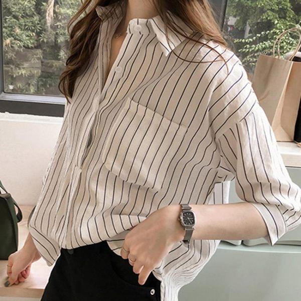 棉麻襯衫女短袖 夏季新款學生bf寬鬆顯瘦休閒條紋襯衣亞麻上衣 米娜小鋪