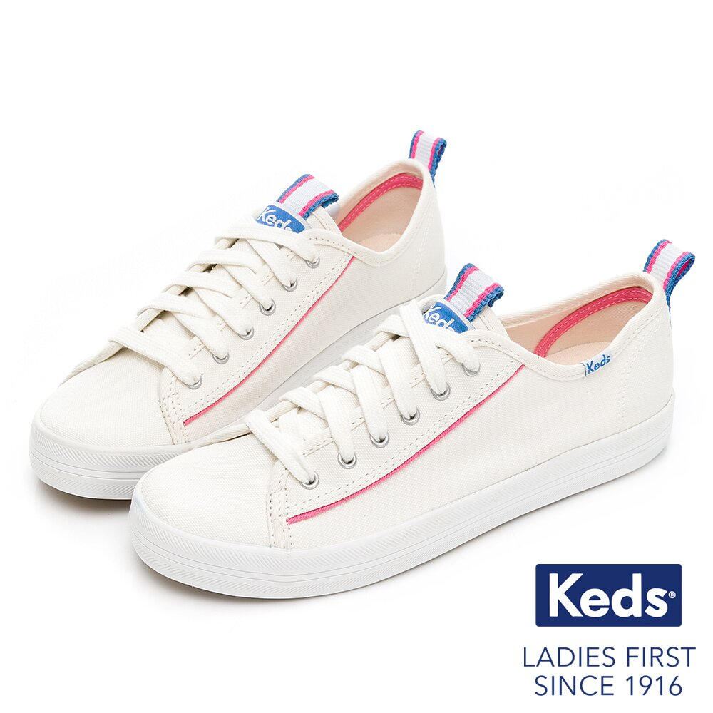 Keds KICKSTART 繽紛撞色帆布休閒鞋-白