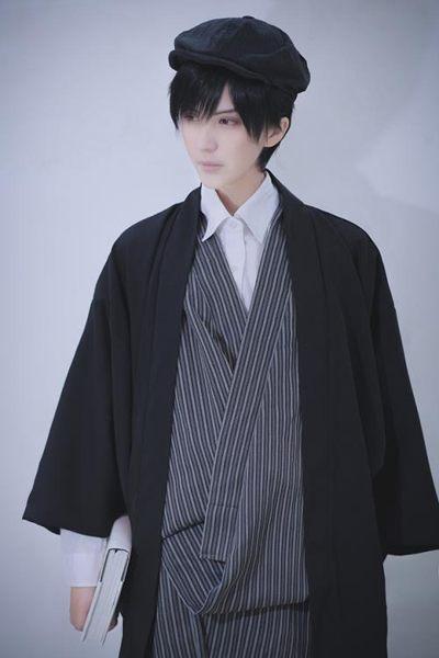 cosplay角色扮演黑色 純色 刺繡 日式 男女 和風 羽織 外套