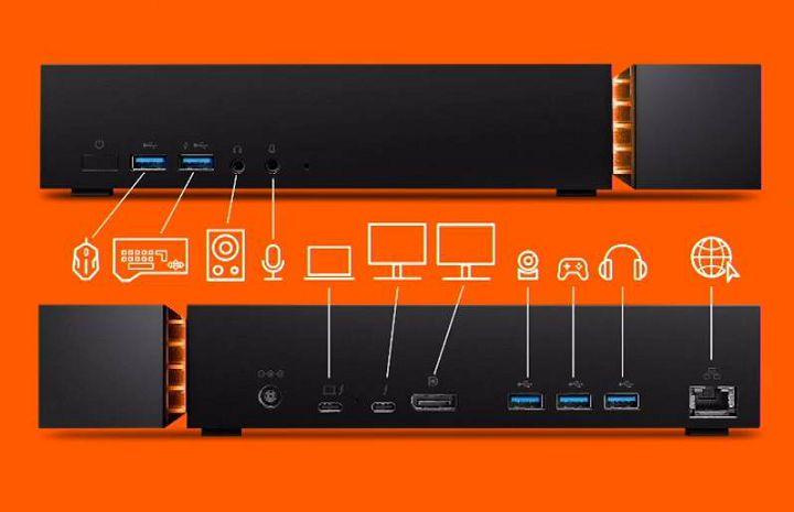 FireCuda Gaming Dock 正反面均有連接埠,可對應不同周邊裝置。