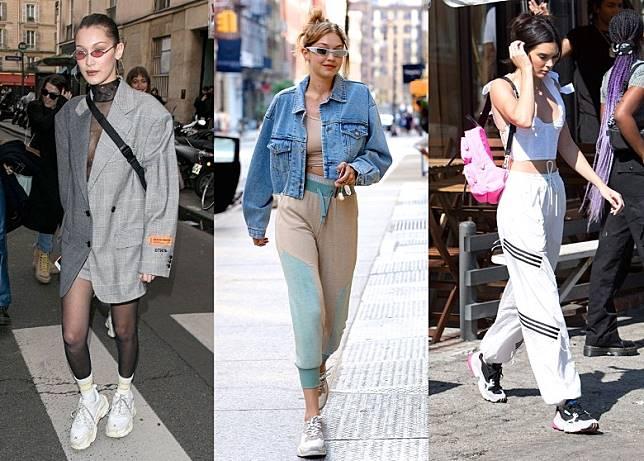 這款潮鞋特別受新世代名模追捧,其中包括(左至右)Bella 、Gigi Hadid兩姊妹和Kendall Jenner等便經常穿老爹鞋走上街,演繹不同的自我風格。(互聯網)