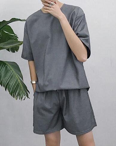FINDSENSE品牌 時尚潮流 男 寬鬆 純色素面簡約 休閒套裝 運動套裝 衣