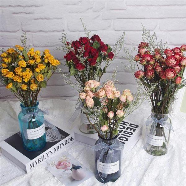 玫瑰花乾花永生花花束情人草書房桌面裝飾ins北歐風擺件小玻璃瓶 琉璃美衣