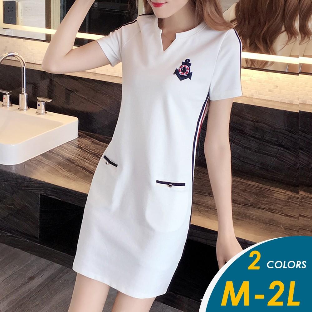 【現貨】韓系運動風船錨圖騰滾邊配色短袖連身裙#7321【俏可】