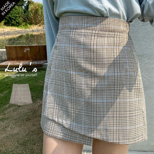 030523♦ 配色格紋樣式/裙襬高低剪裁/後鬆緊/側邊拉鍊/有裙裝內裡