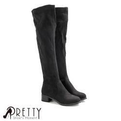 ◎彈性絨布修飾小腿線條|◎刷毛內裡,溫暖舒適的柔軟觸感|◎低跟設計看起來更修長鞋款品名:顯瘦彈性絨布刷毛低跟及膝靴商品尺寸:36、37、38、39、40商品顏色:黑色鞋跟高度:3.7cm筒長:14.5