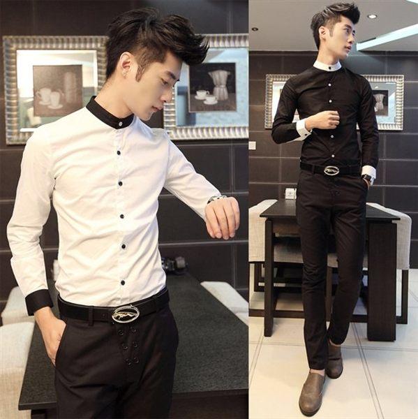 素面襯衫正韓夜店時尚男裝修身男士長袖襯衫男撞色禮服領型襯衣潮男發型師