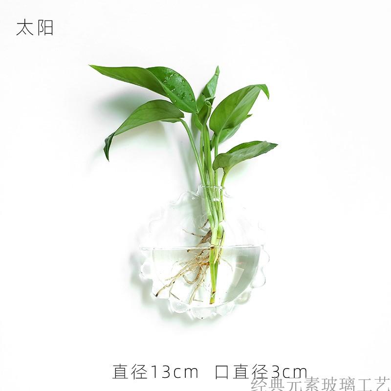 簡約現代壁掛透明玻璃花瓶小掛牆上的水培���盆裝飾養綠蘿插富貴竹