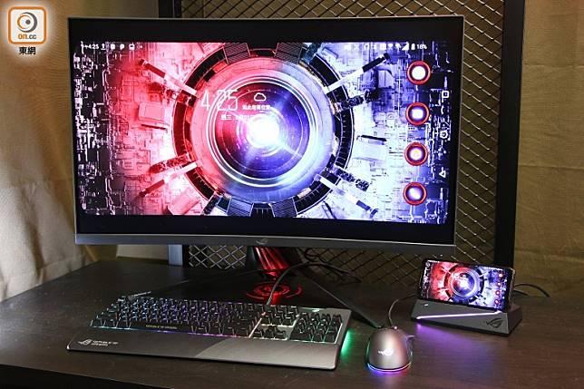 Mobile Desktop Dock桌上型遊戲基座,將手機變電腦,方便用大屏幕及Mouse打機。(張錦昌攝)