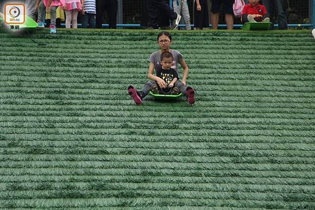 人造滑草場斜度不算誇張,男女老幼都適合玩。(資料圖片)