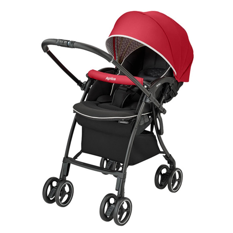 日本 Aprica - 四輪自動定位導向型嬰兒推車-LUXUNA Cushion-玫瑰鑽石 RD-1m - 3y