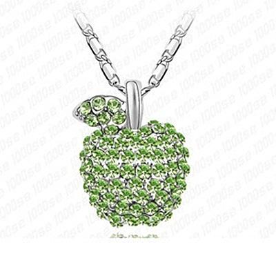 925純銀項鍊 鑲鑽墜飾-可愛蘋果生日情人節聖誕節交換禮物女飾品3色[巴黎精品]