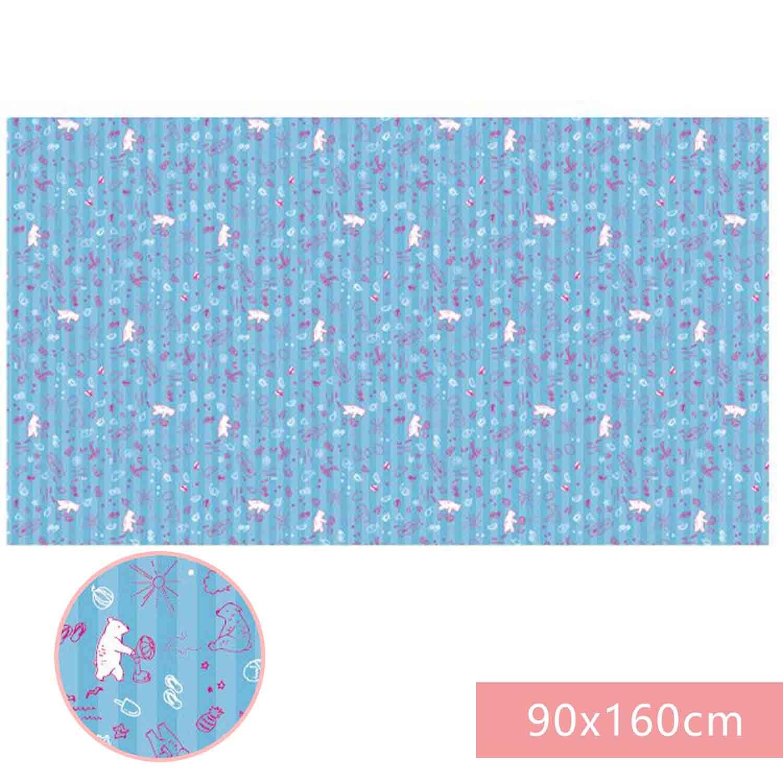 日本 Pearl金屬 - 超輕薄野餐墊-水藍小熊 (90x160cm)