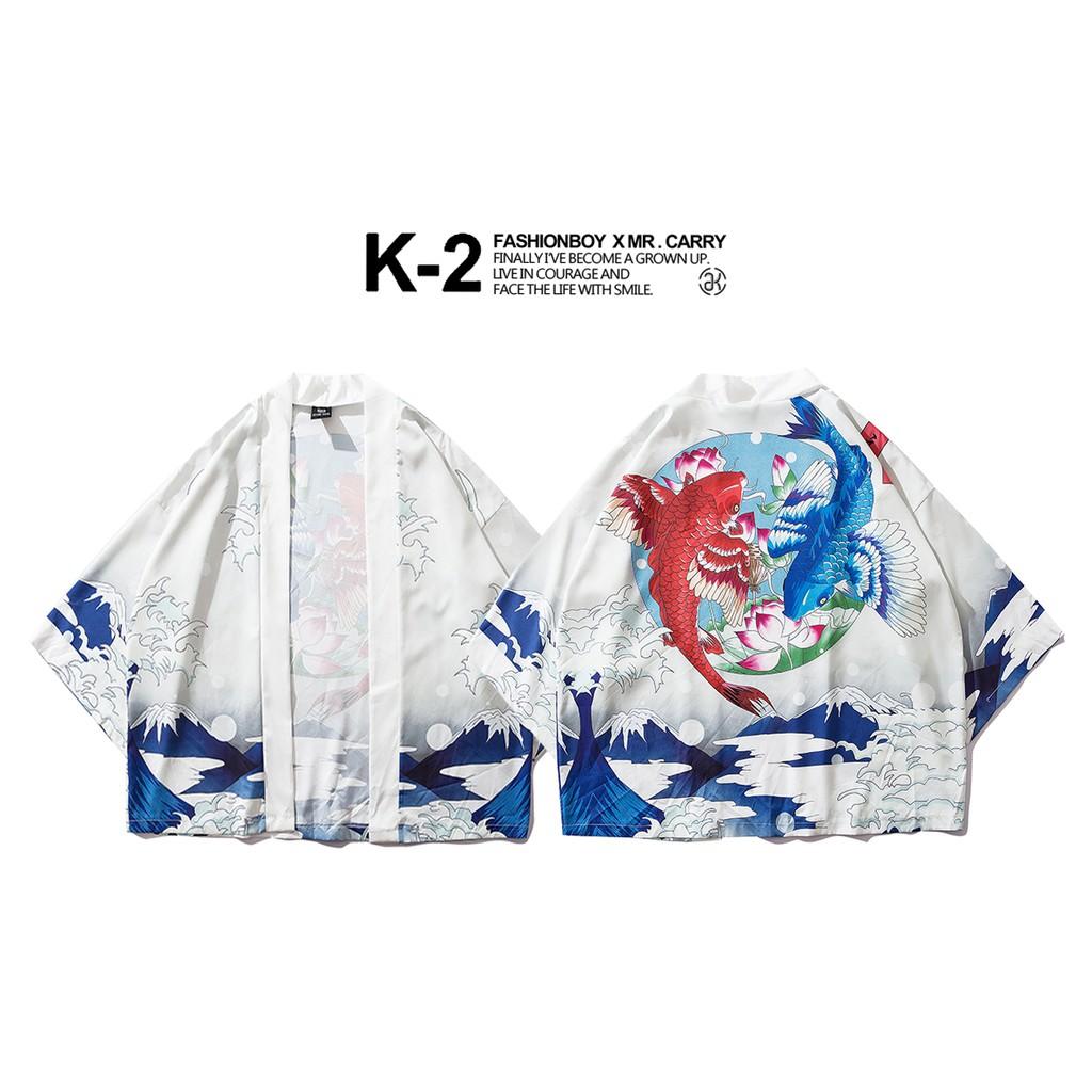 【K-2】春夏新款 日式 浮世繪 錦鯉 雙魚座 蓮花 海浪 浴袍 道袍 情侶款