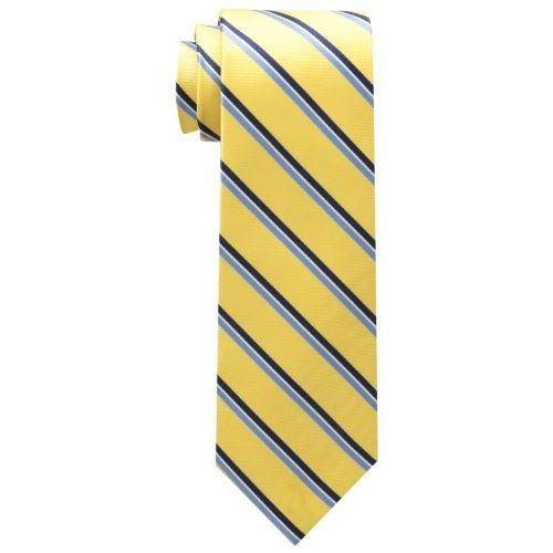 【Tommy Hilfiger】2017男時尚Core黃色系條紋真絲領帶【預購】
