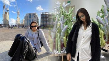 推薦激似款!JENNIE時髦3單品:腋下包、長方形墨鏡、藍色系行李箱