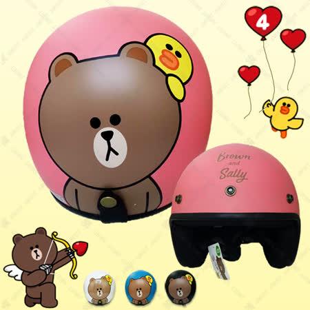 【正版授權 LINE Friends 熊大】3/4罩復古安全帽│小動物 熊大│莎莉│日本超夯