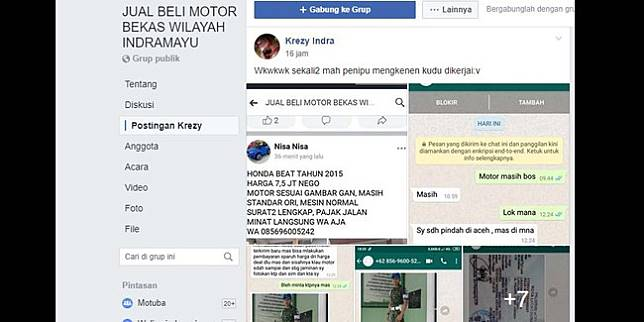 Unggahan Krezy Indra di grup FB JUAL BELI MOTOR BEKAS WILAYAH INDRAMAYU (Facebook)