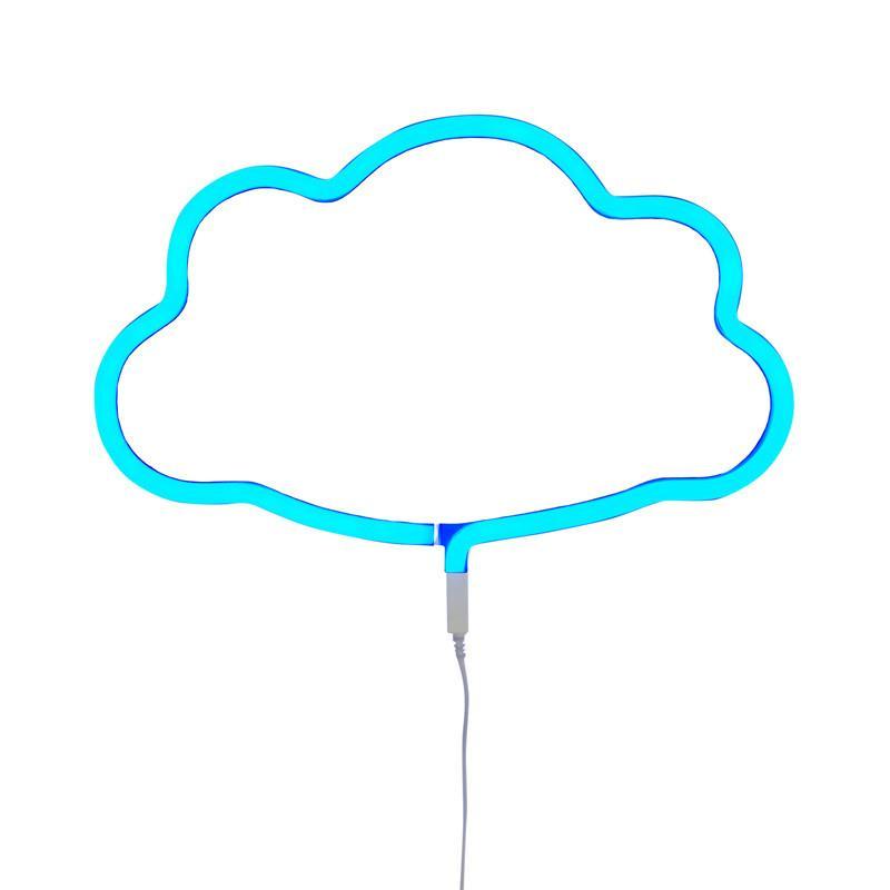 療癒雲朵霓虹造型夜燈-粉藍