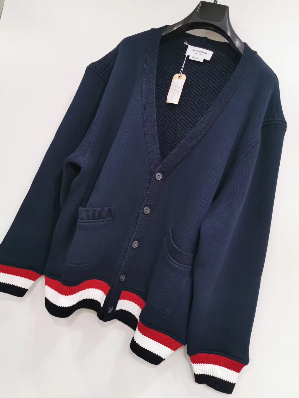 【Go時尚】Thom Browne 深藍 V領 薄針織外套 開衫毛衣 偏大