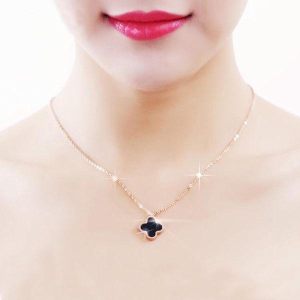 日韓玫瑰金色四葉草項鍊女網紅簡約韓版鎖骨鍊彩金飾品吊墜