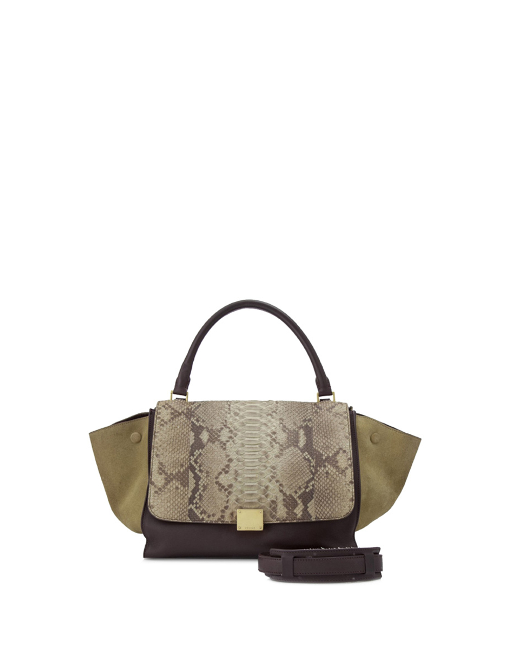 The Trapeze features a snakeskin leather and suede body, a rolled top handle, a detachable flat stra