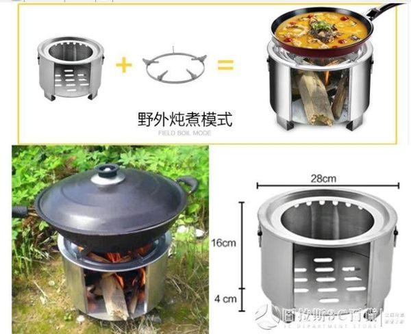 不銹鋼戶外野炊燒飯火鍋爐具旅行野營用品便攜木柴火爐子野餐露營 《圓拉斯3C》