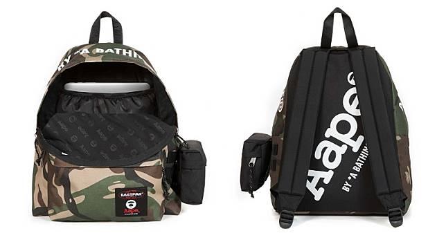 背囊內層有手提電腦格層,除了袋面用上迷彩設計之外,內裏及背部位置亦加入Moon Face圖案及AAPE字樣點綴。(互聯網)