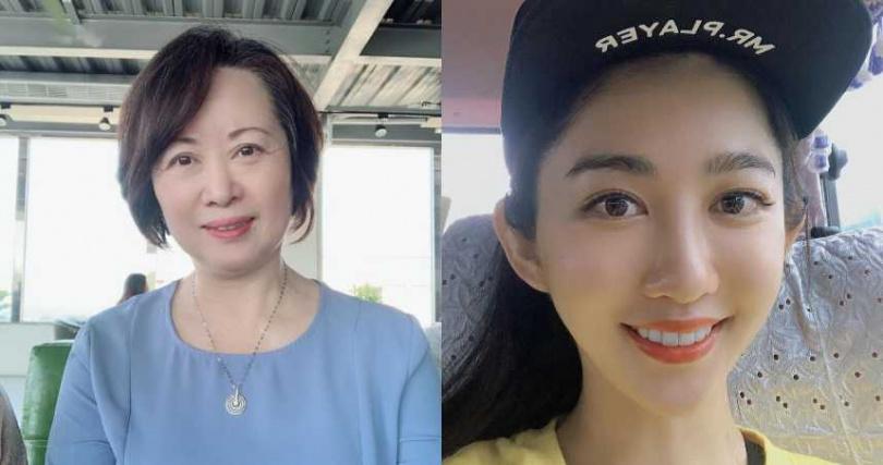王晴(右)與媽媽同樣有著一雙水汪汪大眼。(圖/翻攝自王晴臉書)