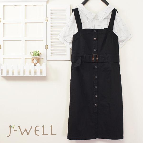 8J1595白格 鉛筆細條格紋襯衫領上衣 8P8435黑 吊帶合身洋