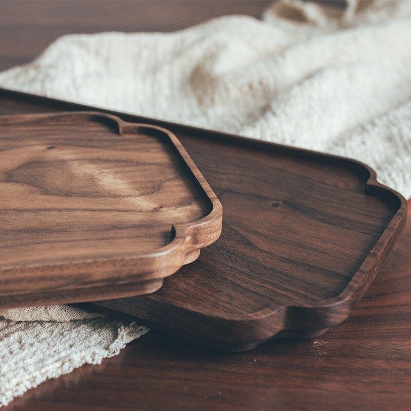 半宅日式整木黑胡桃木茶盤實木托盤干泡臺早餐面包水果堅果點心盤