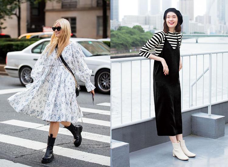 洋裝 短靴穿搭 春季穿搭 白靴 切爾西靴 女鞋