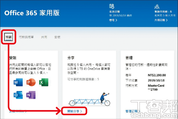 1.到Office 365網站並登入帳號,點「概觀」分頁並找到「開始分享」。