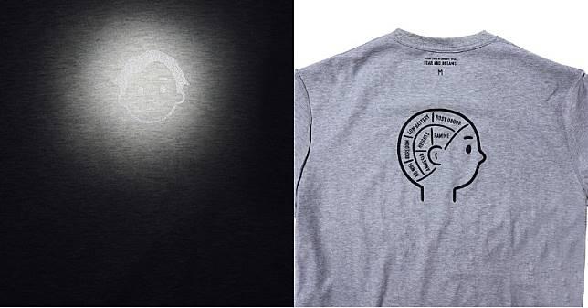 灰色款式左胸位置Eason頭像採用反光物料製作,背部寫上「AMNESIA」、「FAMINE」及「HEIGHTS」等等不同詞彙 。(互聯網)