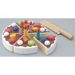 ◎透過磁性,所有的配件都可以用來裝飾蛋糕。|◎孩子們可以練習切蛋糕,也可以透過不同的裝飾做出巧克力或是草莓蛋糕。|◎一起唱著生日快樂歌,然後許願吹蠟燭,切蛋糕!商品名稱:《日本Ed-Inter》木玩系