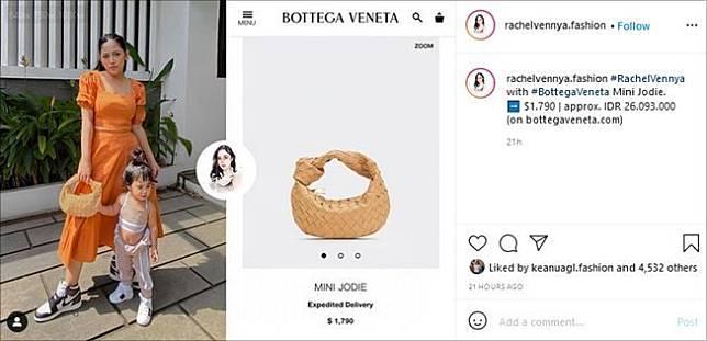 Artis pakai tas mahal mirip anyaman. (Instagram/@rachelvennya.fashion)
