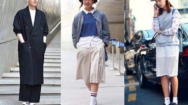 最近發現韓國街拍不流行 NB 運動鞋了 街拍達人紛紛「白襪中毒」變成襪子控!