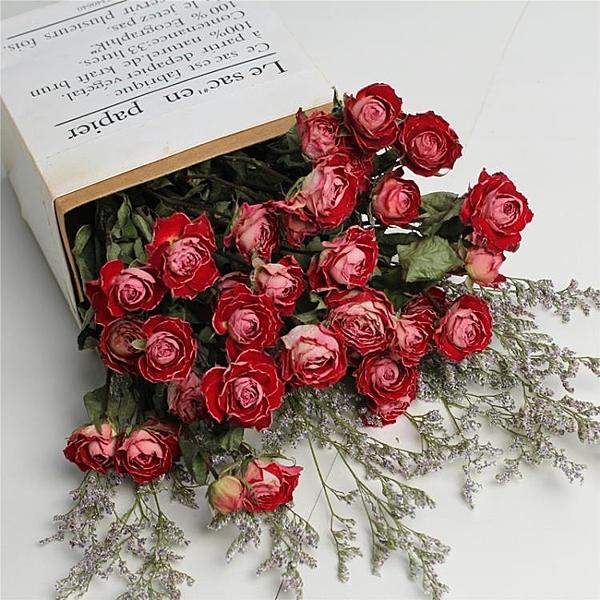 干花花束玫瑰花ins北歐風小清新家居薔薇花花束辦公擺設客廳裝飾
