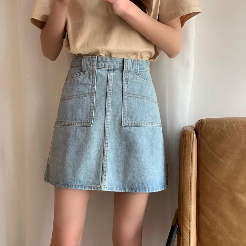 短裙 半身裙 A字裙 牛仔裙 丹寧牛仔 2019夏季新款韓國個性百搭牛仔半身裙純色簡約復古風A字牛仔裙 女生衣著