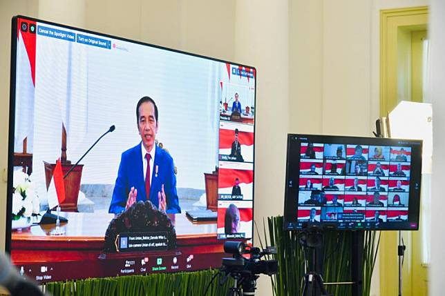 President Joko 'Jokowi' Widodo addresses an Indonesian Rectors Forum virtual conference on Saturday.