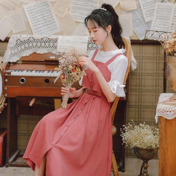 吊帶裙裙子仙女超仙森系甜美連身裙2019流行新款夏天吊帶裙女學生小清新 伊羅鞋包