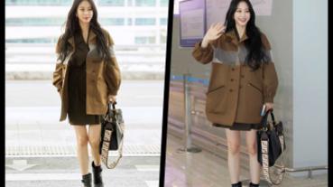 機場超時尚,韓藝瑟『下半身失蹤』時髦這樣穿,休閒大方又性感