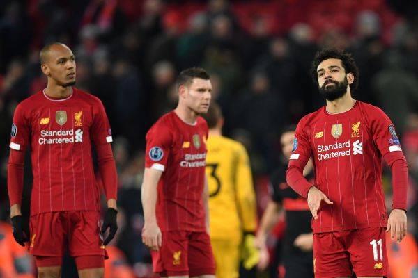 Pemain Liverpool Mohamed Salah (kanan) di laga kedua babak 16 besar Liga Champions melawan Atletico Madrid di Anfield, Maret lalu.